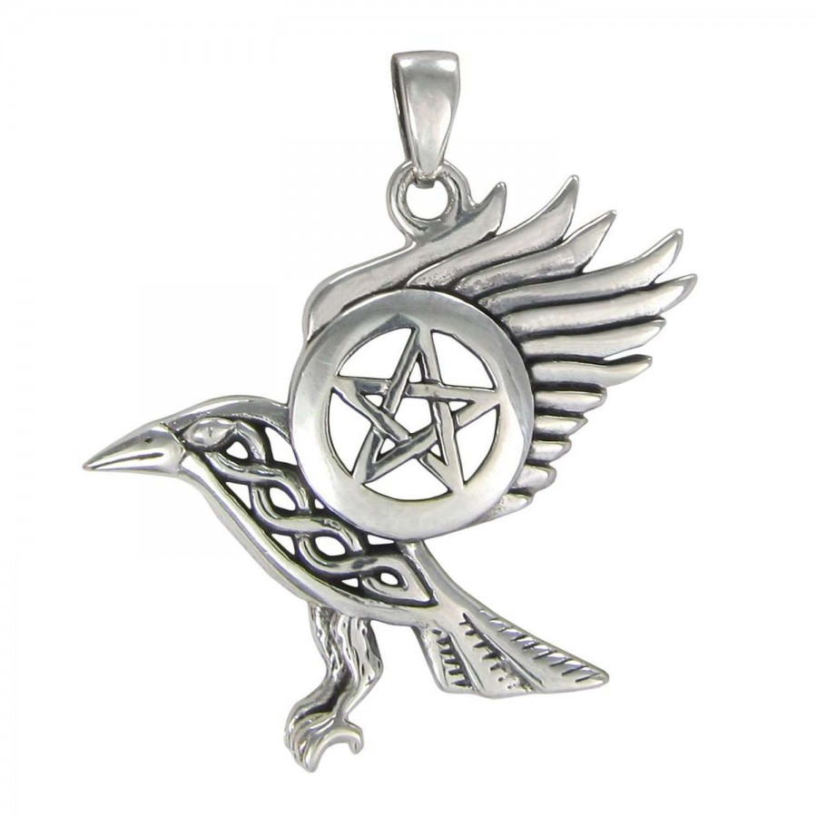 Raven pentacle sterling silver pendant wicca pagan goddess raven pentacle sterling silver pendant at mystic convergence wiccan supplies pagan jewelry witchcraft aloadofball Gallery