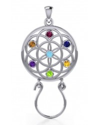 Flower of Life Charm Holder with Gemstones