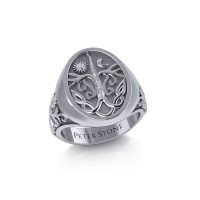 Tree of Life Mens Signet Ring