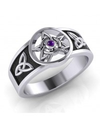 Celtic Trinity Pentacle Amethyst Ring Mystic Convergence Metaphysical Supplies Metaphysical Supplies, Pagan Jewelry, Witchcraft Supply, New Age Spiritual Store
