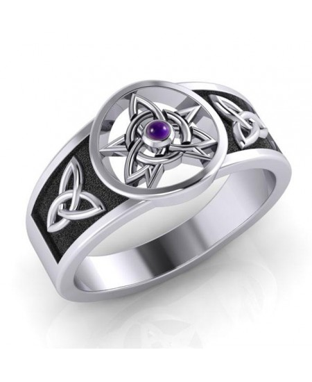 Celtic Trinity Pentacle Amethyst Ring at Mystic Convergence Metaphysical Supplies, Metaphysical Supplies, Pagan Jewelry, Witchcraft Supply, New Age Spiritual Store