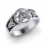 Celtic Trinity Pentacle Blue Topaz Ring at Mystic Convergence Metaphysical Supplies, Metaphysical Supplies, Pagan Jewelry, Witchcraft Supply, New Age Spiritual Store