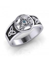 Celtic Trinity Pentacle Blue Topaz Ring Mystic Convergence Metaphysical Supplies Metaphysical Supplies, Pagan Jewelry, Witchcraft Supply, New Age Spiritual Store