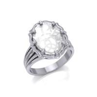 Trinity Heart Natural Clear Quartz Ring