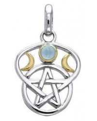 Triple Moon Pentacle Pendant with Gemstone Mystic Convergence Metaphysical Supplies Metaphysical Supplies, Pagan Jewelry, Witchcraft Supply, New Age Spiritual Store