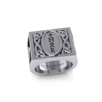 Viking God Thor Runic Mens Signet Ring