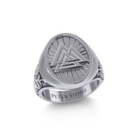 Viking Valknut Mens Signet Ring