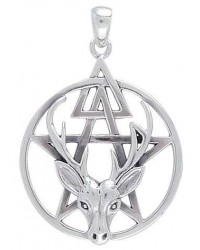 Wiccan Stag Pentacle Pendant in Sterling Silver Mystic Convergence Metaphysical Supplies Metaphysical Supplies, Pagan Jewelry, Witchcraft Supply, New Age Spiritual Store