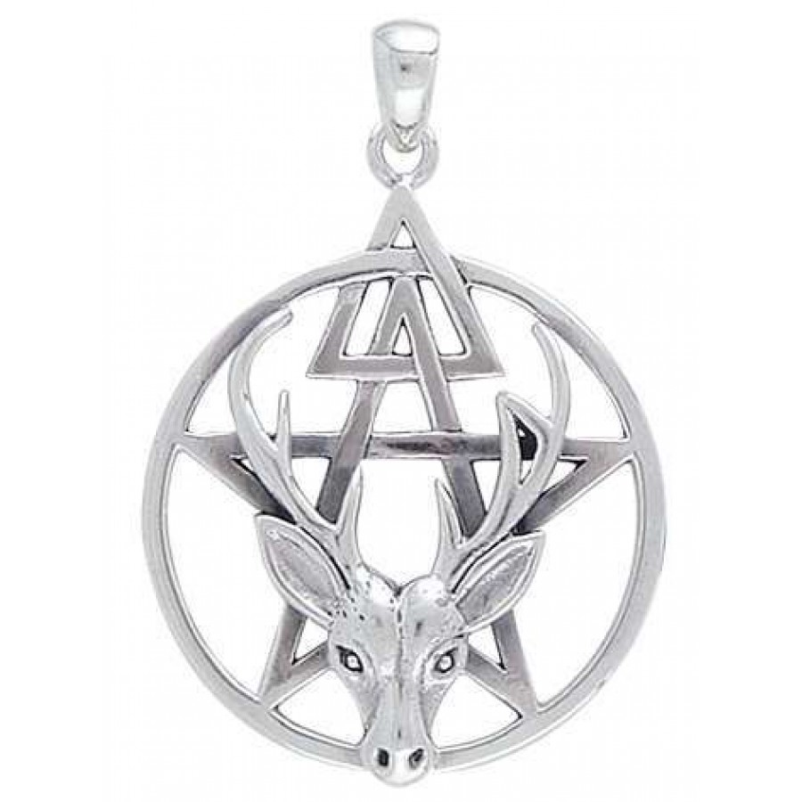 Wiccan Stag Pentacle Pendant In Sterling Silver Wicca Witch