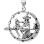 Witchy Broom Rider Sterling Silver Pendant at Mystic Convergence, Wiccan Supplies, Pagan Jewelry, Witchcraft Supplies, New Age Store