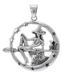 Witchy Broom Rider Sterling Silver Pendant Mystic Convergence Metaphysical Supplies Metaphysical Supplies, Pagan Jewelry, Witchcraft Supply, New Age Spiritual Store