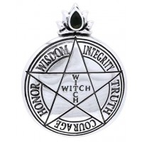 Witch Virtues Pentagram Sterling Silver Pendant