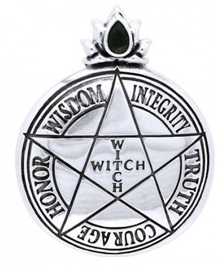 Witch Virtues Pentagram Sterling Silver Pendant at Mystic Convergence Metaphysical Supplies, Metaphysical Supplies, Pagan Jewelry, Witchcraft Supply, New Age Spiritual Store