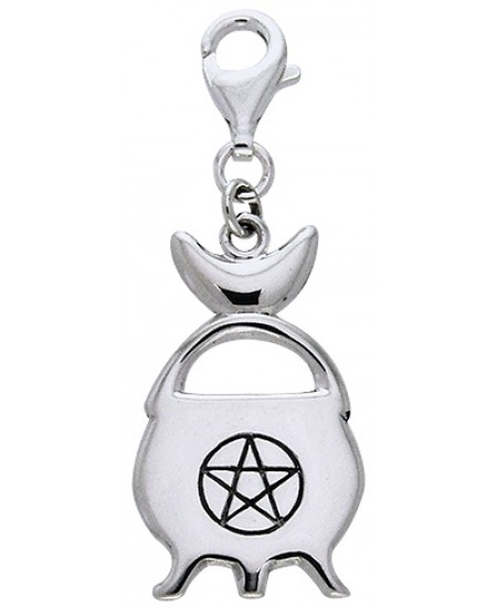 Witches Cauldron Sterling Silver Clip Charm at Mystic Convergence Metaphysical Supplies, Metaphysical Supplies, Pagan Jewelry, Witchcraft Supply, New Age Spiritual Store