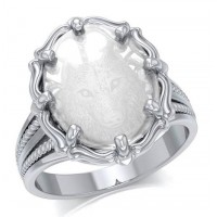 Wolf Clear Quartz Crystal Sterling Silver Ring