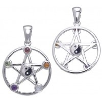 Pentacle with Gems and Yin Yang Pendant
