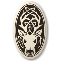 Stag - The Horned God Oval Porcelain Necklace
