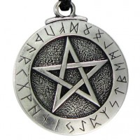 Runic Pentacle Pewter Necklace
