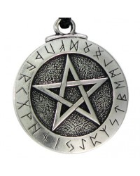 Runic Pentacle Pewter Necklace Mystic Convergence Metaphysical Supplies Metaphysical Supplies, Pagan Jewelry, Witchcraft Supply, New Age Spiritual Store