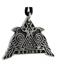 Valknut Raven Warrior Odin Huginn and Muninn Pewter Necklace Mystic Convergence Metaphysical Supplies Metaphysical Supplies, Pagan Jewelry, Witchcraft Supply, New Age Spiritual Store