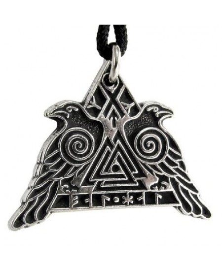 Valknut Raven Warrior Odin Huginn and Muninn Pewter Necklace at Mystic Convergence Metaphysical Supplies, Metaphysical Supplies, Pagan Jewelry, Witchcraft Supply, New Age Spiritual Store