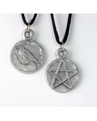Raven Pentacle Double Sided Pewter Necklace Mystic Convergence Metaphysical Supplies Metaphysical Supplies, Pagan Jewelry, Witchcraft Supply, New Age Spiritual Store