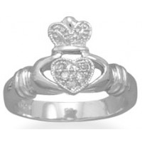 Claddagh Sterling Silver Ring with Crystal Accents