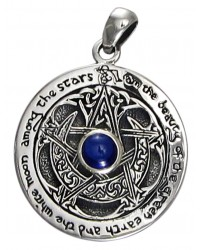 Blue Sapphire Moon Pentacle Sterling Silver Pendant Mystic Convergence Metaphysical Supplies Metaphysical Supplies, Pagan Jewelry, Witchcraft Supply, New Age Spiritual Store