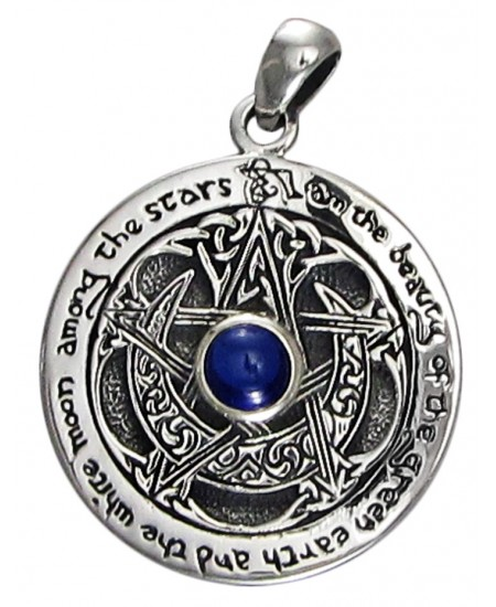 Blue Sapphire Moon Pentacle Sterling Silver Pendant at Mystic Convergence Metaphysical Supplies, Metaphysical Supplies, Pagan Jewelry, Witchcraft Supply, New Age Spiritual Store