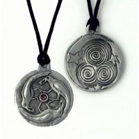 Triple Spirals Raven Pewter Necklace