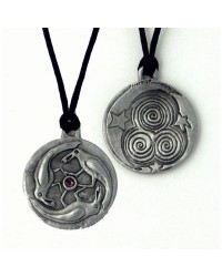 Triple Spirals Raven Pewter Necklace Mystic Convergence Metaphysical Supplies Metaphysical Supplies, Pagan Jewelry, Witchcraft Supply, New Age Spiritual Store