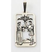 Two of Cups Small Tarot Pendant