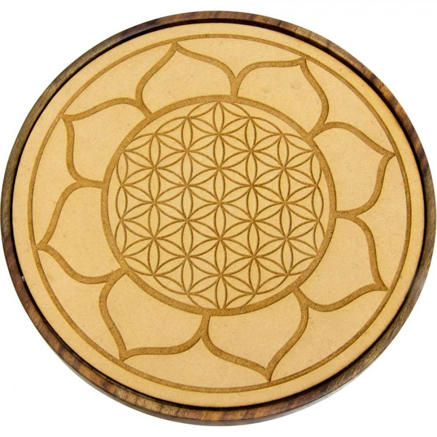 Lotus Flower Of Life Wood Crystal Grid Magick Witchcraft