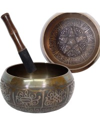 Dhyani Buddhas Large 6 Inch Embossed Singing Bowl Mystic Convergence Metaphysical Supplies Metaphysical Supplies, Pagan Jewelry, Witchcraft Supply, New Age Spiritual Store