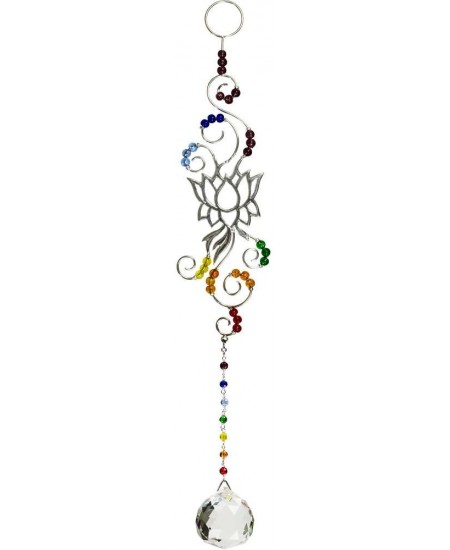 Lotus Chakra Wire Hanging Crystal Prism Suncatcher at Mystic Convergence Metaphysical Supplies, Metaphysical Supplies, Pagan Jewelry, Witchcraft Supply, New Age Spiritual Store
