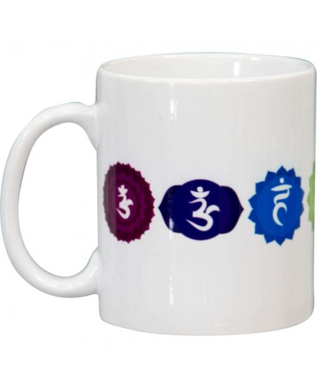 7 Chakra White Ceramic Mug at Mystic Convergence Metaphysical Supplies, Metaphysical Supplies, Pagan Jewelry, Witchcraft Supply, New Age Spiritual Store