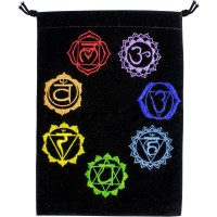 7 Chakras Embroidered Velvet Pouch