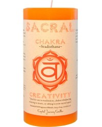 Sacral Chakra Orange Pillar Candle Mystic Convergence Metaphysical Supplies Metaphysical Supplies, Pagan Jewelry, Witchcraft Supply, New Age Spiritual Store