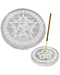 Selenite Pentacle Incense Holder/Charging Plate Mystic Convergence Metaphysical Supplies Metaphysical Supplies, Pagan Jewelry, Witchcraft Supply, New Age Spiritual Store
