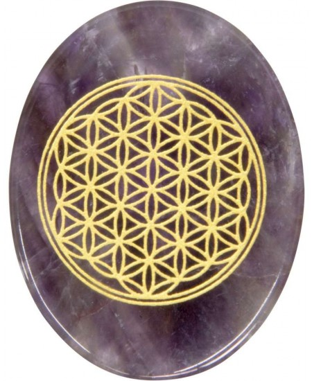 Amethyst Flower of Life Worry Stone at Mystic Convergence Metaphysical Supplies, Metaphysical Supplies, Pagan Jewelry, Witchcraft Supply, New Age Spiritual Store