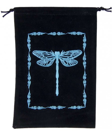 Dragonfly Embroidered Velvet Pouch at Mystic Convergence Metaphysical Supplies, Metaphysical Supplies, Pagan Jewelry, Witchcraft Supply, New Age Spiritual Store