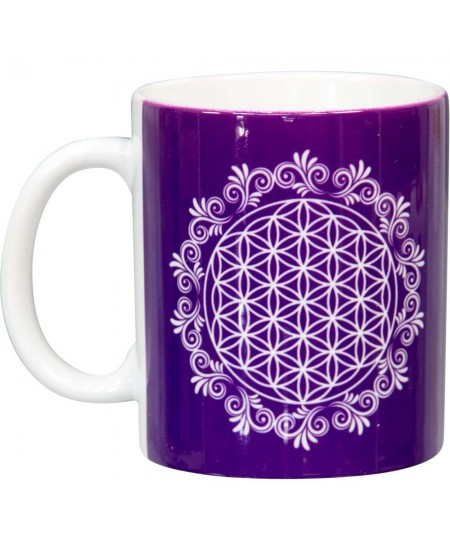 Flower of Life Purple Ceramic Mug at Mystic Convergence Metaphysical Supplies, Metaphysical Supplies, Pagan Jewelry, Witchcraft Supply, New Age Spiritual Store