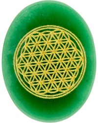 Green Aventurine Flower of Life Worry Stone Mystic Convergence Metaphysical Supplies Metaphysical Supplies, Pagan Jewelry, Witchcraft Supply, New Age Spiritual Store