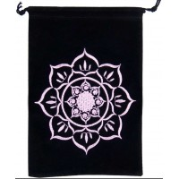 Lotus Embroidered Velvet Pouch