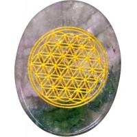 Rainbow Fluorite Flower of Life Worry Stone