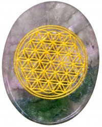 Rainbow Fluorite Flower of Life Worry Stone Mystic Convergence Metaphysical Supplies Metaphysical Supplies, Pagan Jewelry, Witchcraft Supply, New Age Spiritual Store
