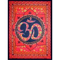 Red Om Lotus Tapestry