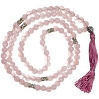 Rose Quartz Prayer Bead Mala with Counters