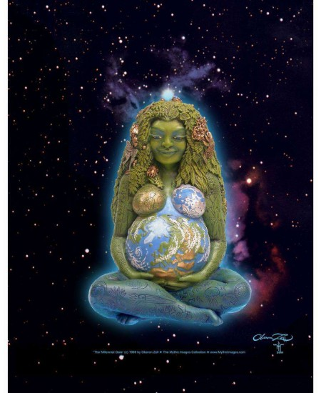 Millennial Gaia Mother Earth Full Color Poster at Mystic Convergence, Wiccan Supplies, Pagan Jewelry, Witchcraft Supplies, New Age Store