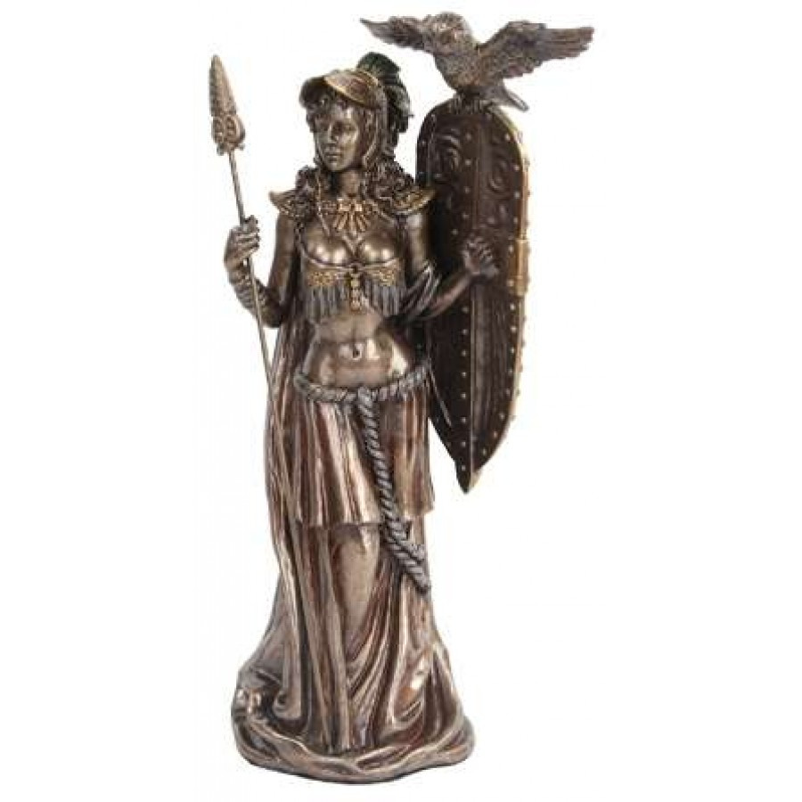 Athena Standing With Shield Greek Bronze Statue Goddess